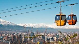 Téléphérique dans la colline de San Cristobal, Santiago du Chili